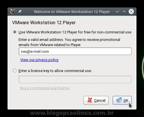 Insira o seu e-mail para poder utilizar gratuitamente o VMware Workstation Player (uso não comercial)