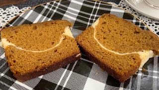 Pumpkin Bread with a Cream  Cheese Ribbon