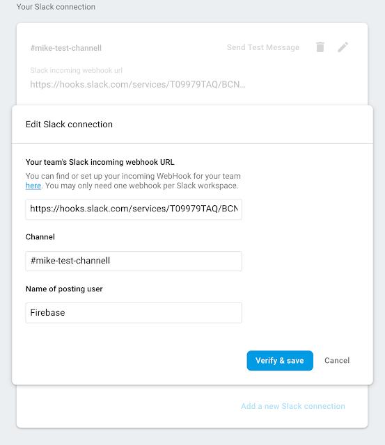 immagine della configurazione della connessione Slack