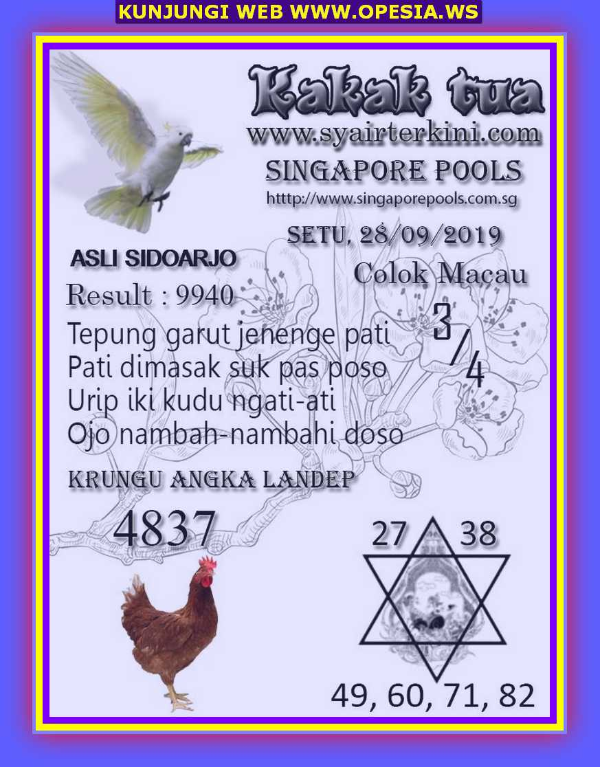 Syair sgp Sabtu 28 September 2019 47