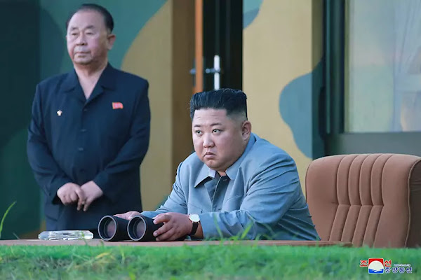 Kim Jong Un at power demonstration fire of a new-type tactical guided weapon, July 25 , 2019