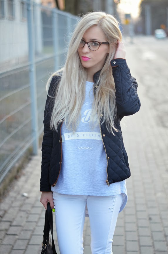 QUILTED JACKET, YEAH BUNNY BLOUSE, WHITE SKINNY JEANS & PINK CONVERSE