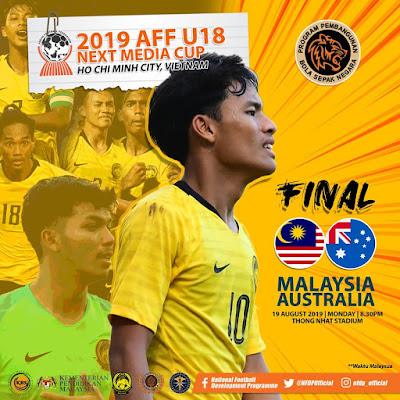 Live Streaming Malaysia vs Australia 19.8.2019, Final AFF U18
