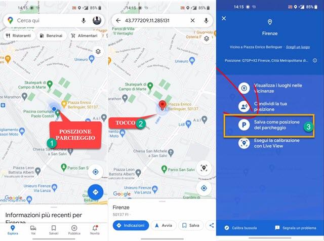 salvare posizione del parcheggio su google maps