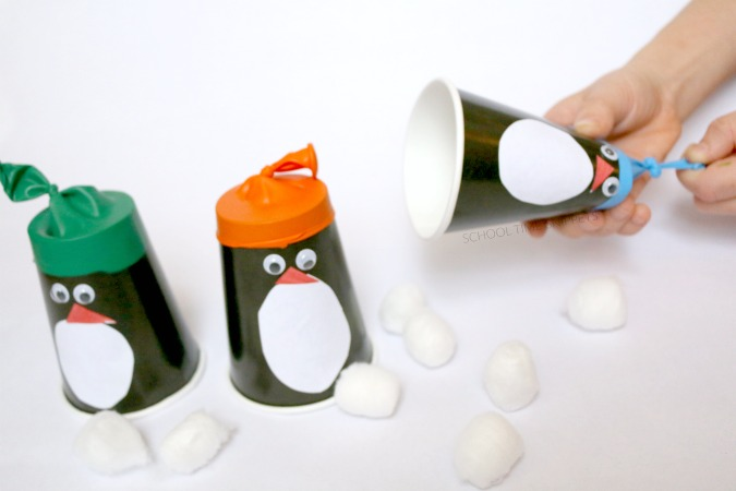 paper cup penguin popper craft