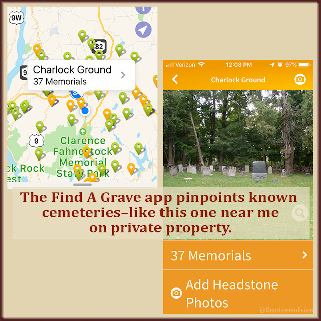 The Find A Grave app shows you where the closest cemeteries are.