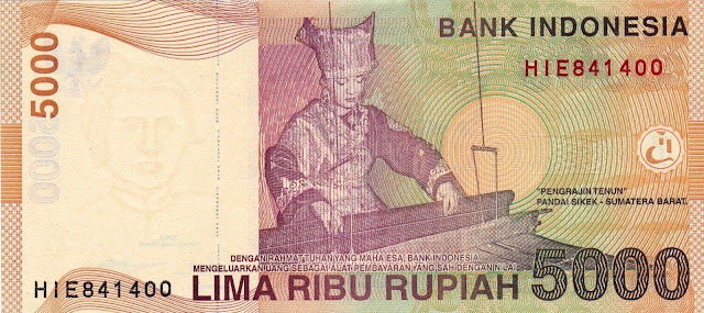 Indonesian money currency 5000 Rupiah banknote 2015
