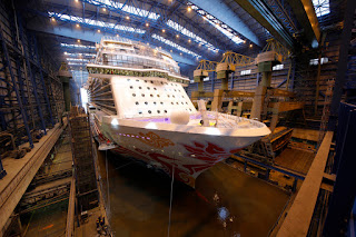 Norwegian Joy in dry dock at Meyer Werft shipbuilders at Papenburg, Germany