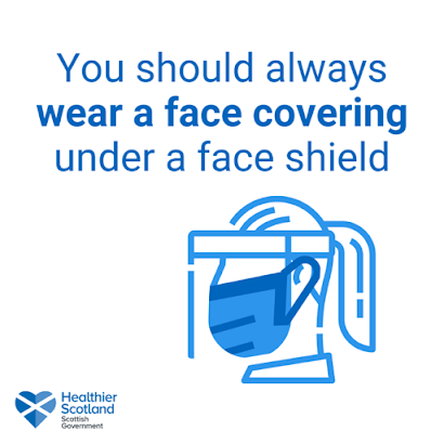 Scotland wear a face covering under a visor