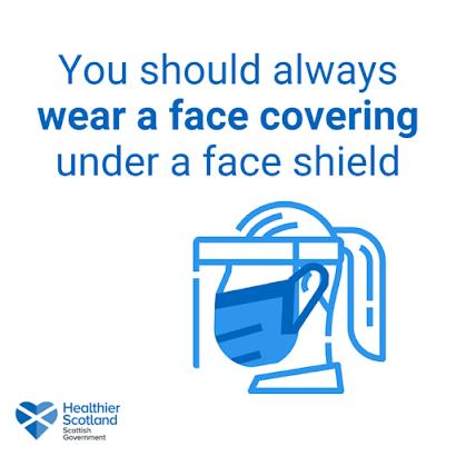 Scotland wear a face covering under a visor