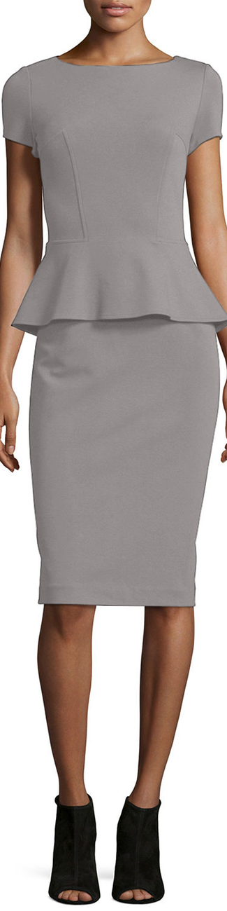 Lafayette 148 New York Cap-Sleeve Peplum Dress Rock