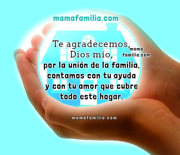 imagen con bonita oracion por la familia casa hogar en manos de Dios