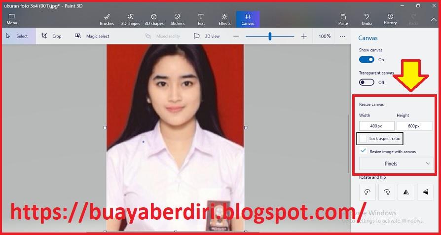 Cara Mengubah Foto 2x3 4x6 3x4 Di Paint 3d Windows 10