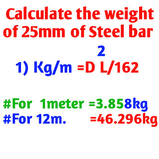 Weight of 25 mm Steel bar