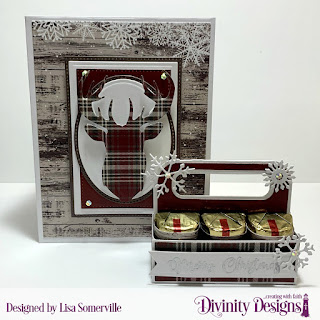 Stamp Set: True Light, Custom Dies: Candy Carrier, Pennant Flags, Book Fold Card with Layers, Pierced Rectangles, Rectangles, Ovals, Pierced Ovals, Deer Silhouette, Circles, Pierced Circles, Christmas Dove (snowflakes), Christmas Lights (Bow), Paper Collection: Rustic Christmas
