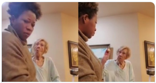 Elderly white woman video while she was spitting on Black caregiver (Watch video)