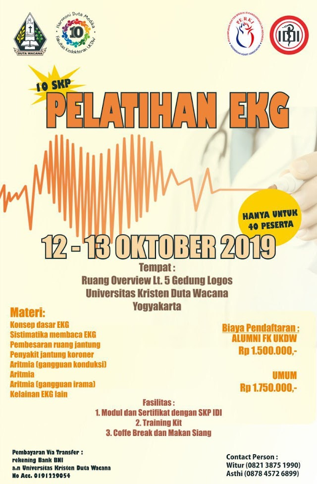 Pendaftaran Pelatihan EKG 12-13 Oktober 2019