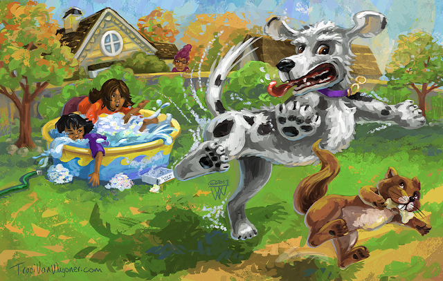 Crazy squirrel chasing dog a fun children's book illustration by Traci Van Wagoner