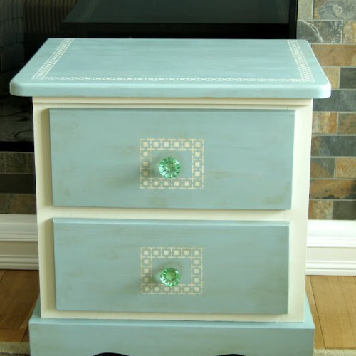 Stunning Greek Key Pine Bedside Table Makeover