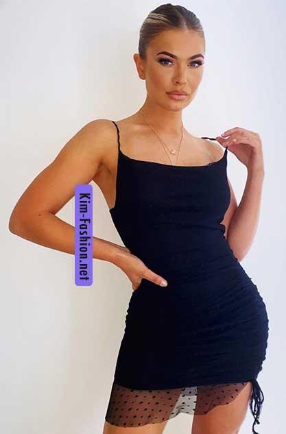 Black Dobby Mesh Cowl Neck Ruched Bodycon Dress