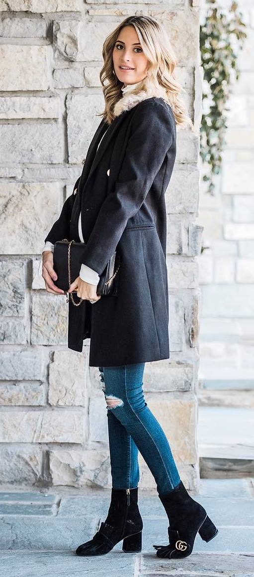 how to wear a coat : bag + ripped jeans + boots + top