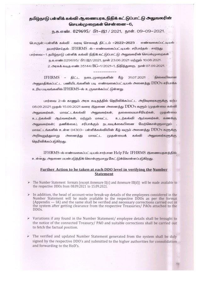 IFHRMS - NUMBER STATEMENT - VERIFICATION PROCEDURE - REG