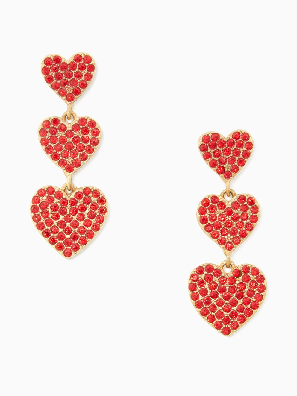 Kate Spade Yours Truly Pave Heart Triple Drop Earrings - UK style blog