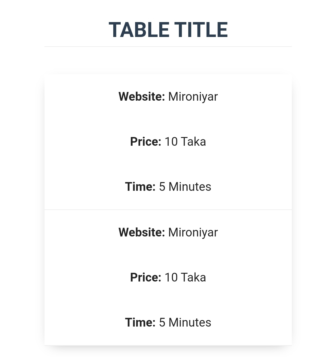 Table CSS for Blogger