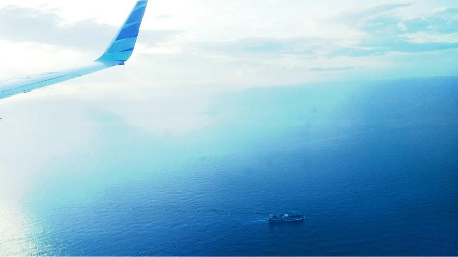 Haru Biru Perahu — foto dari pesawat, Makassar-Ambon 7 November 2019