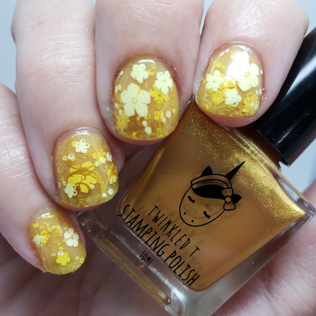 yellow flowers, jelly sandwich, jelly nail art, nail art