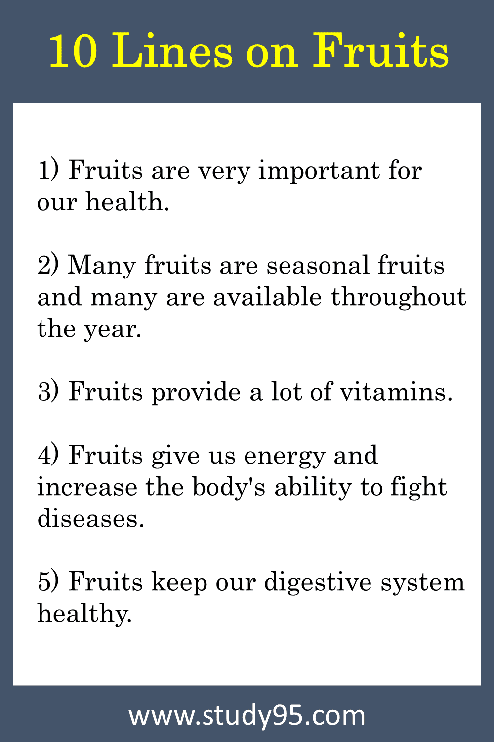 Lines on Fruits in English