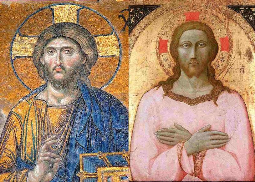 Mosaico bizantino na catedral Agia Sofia em Constantinopla à esquerda. Maestro da Observância, tal vez el joven Sano di Pietro (1406–1481)l à direita