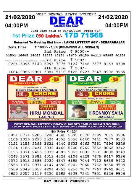 West Bengal State 21-02-2020  Lottery Sambad Result 400 PM
