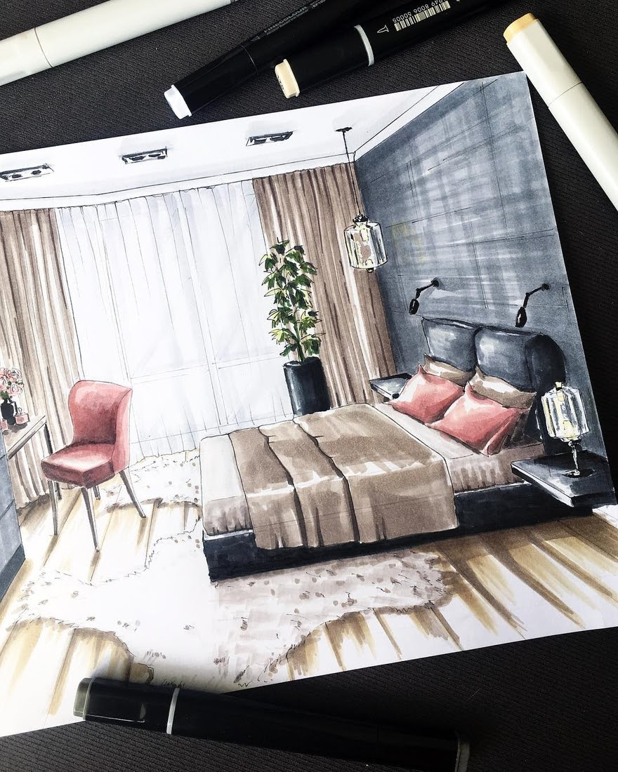 02-Master-Bedroom-Natalia-Pristenskaya-Дизайнер-интерьеров-Interior-Design-Sketches-www-designstack-co
