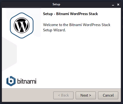 Bitnami LInux WordPress Stack 5.3.2-2 Setup Wizard Welcome画面