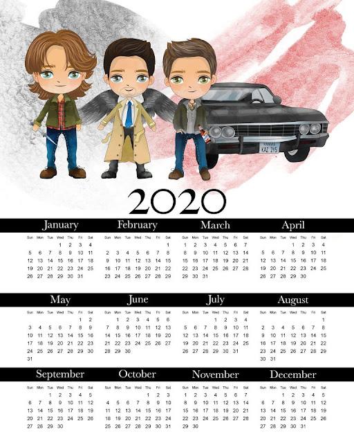 Supernatural: Calendario 2020 para Imprimir Gratis.