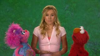 Kristen Bell celebrity, Elmo and Abby Cadabby, the Word on the Street splatter, Sesame Street Episode 4316 Finishing the Splat season 43