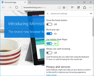 Flash player yang ada di Microsoft Edge di Windows 10
