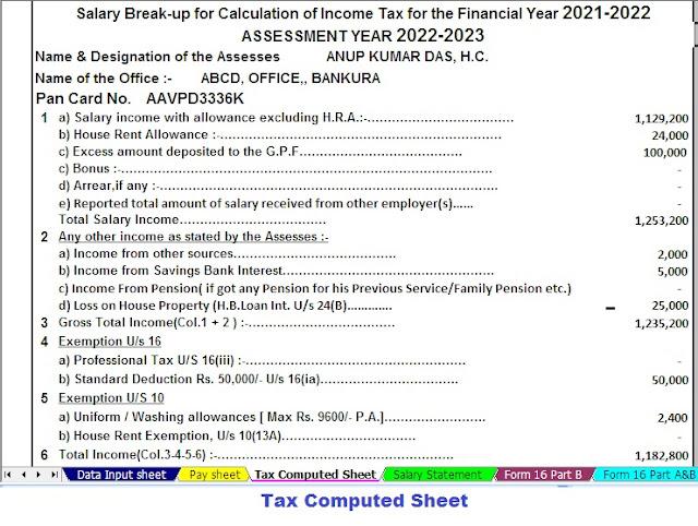 Tax Computed Sheet for Bihar Employees