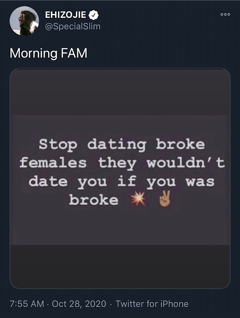 'Stop Dating Broke Women' - MTV Base VJ Ehiz Advises Nigerian Men