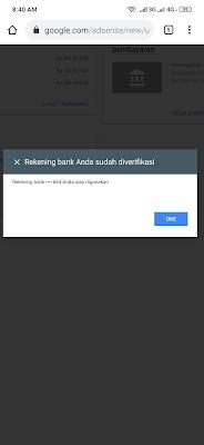Verifikasi Rekening Bank Google Adsense Berhasil
