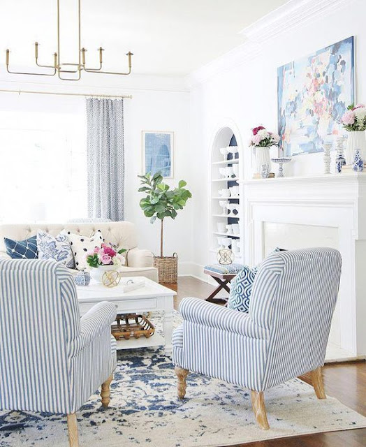 Blue and White Living Rooms