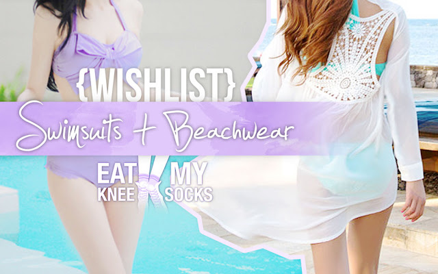 The Eat My Knee Socks/Mimchikimchi intro picture for the Dresslink summer swimsuit and beachwear fashion wishlist.