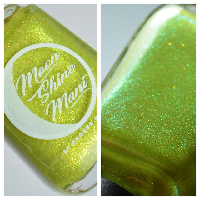 yellow green nail polish with shimmer