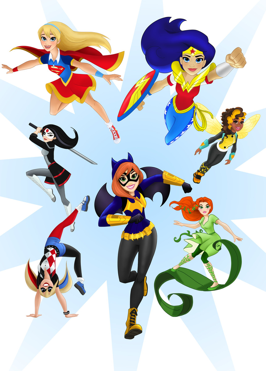 Young, newly designed versions of Supergirl, Wonder Woman, Batgirl, Katana, Bumblebee, Poison Ivy, and Harley Quinn flying, running, and/or jumping towards the viewer