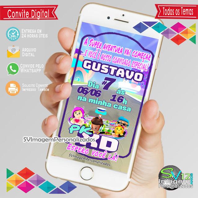 Convite Digital Pk Xd Game dicas e ideias para decoração de festa personalizados