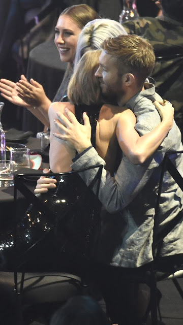 Taylor Swift watching Calvin Harris win at the iHeartRadio awards is precious