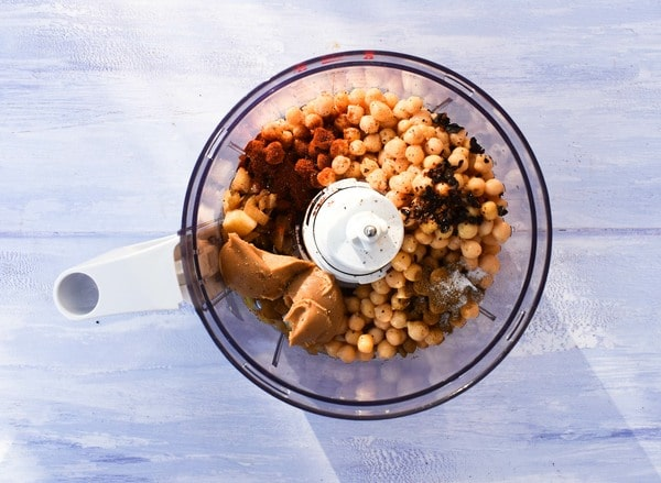 Step 4 - cooked chickpeas, spices and peanut butter added to the food processor