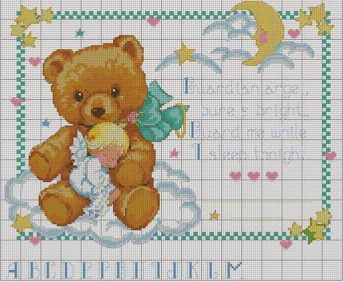 Hobby lavori femminili ricamo uncinetto maglia for Schema punto croce orsetto