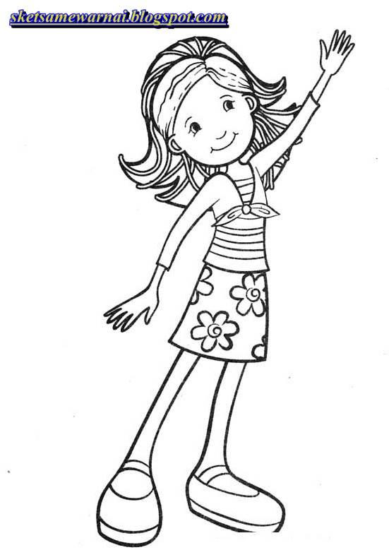 Sketsa Mewarnai Gambar Anak Perempuan Sketsa Mewarnai